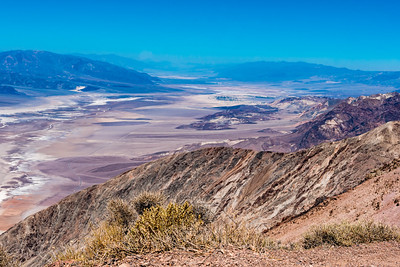 View of badwater basin and distant mountains