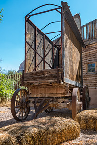Front view of an old western medicine man buggy