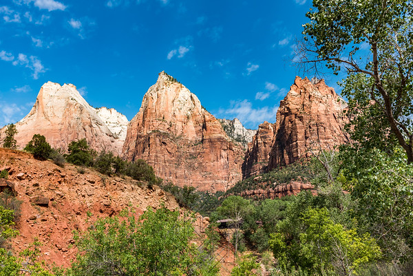 Wide angle view of three  patriarchs mountains in zion
