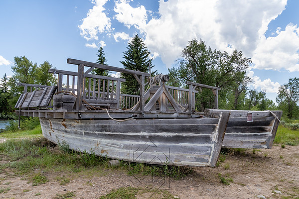 Old boat remains at Menor's Ferry landing