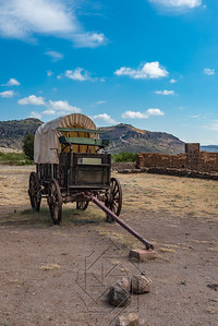 Covered wagon with green buck board