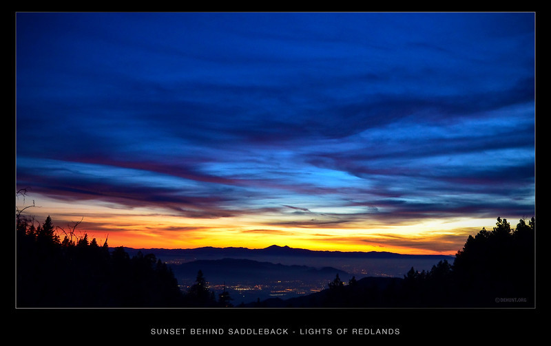Sunset Behind Saddleback - Lights of Redlands.<br /> A wide angle view of Saddleback and the sunset, from the end of my street.