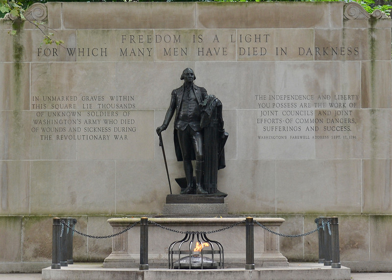 "The monument, designated the ""Tomb of the Unknown Revolutionary War Soldier"", includes remains which were that of a soldier, but it is uncertain if he was Colonial or British.<br /> An unknown number of bodies remain buried beneath the square and the surrounding area; some are still occasionally found during construction and maintenance projects."
