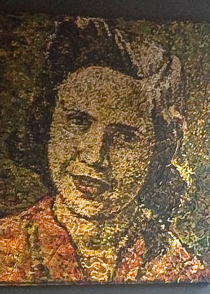 """This is an image of textured art, of """"Mama Carmelina"""".<br /> Carmelina's North End, is a great Italian place, suggested by """"Boston"""" Ron, enjoyed by all. Warm wine and all. I had a cold brew, and a great view. <br /> """"All meals are cooked to order. Sometimes on the busier nights the kitchen may get a little backed up, please understand that we are carefully and conscientiously preparing each and every dish. It is worth waiting an extra few minutes. Capice?""""<br /> """"We do not offer coffee or dessert. Experience the North End Italian style, by patronizing our many nearby caffe's, gelateria's, and pastry shops. These are the after dinner professionals."""""""