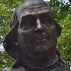"Benjamin Franklin 1706 -1790<br /> Titled ""Keys to the Community""<br /> By Philadelphia Sculptor James Peniston.<br /> A nine-foot bronze bust that portrays Benjamin Franklin turning to greet a visitor, sits at the front of Girard Fountain Park in the Old City neighborhood of Philadelphia."