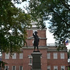 Commodore John Barry, statue in front of Independence Hall.<br /> Independence Hall is the centerpiece of Independence National Historical Park. It is known primarily as the location where both the Declaration of Independence and the United States Constitution were debated and adopted.