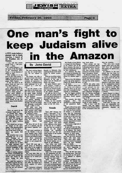 Amazon Jewish Community. Jewish Telegraph. Manchester, England. Feb 26, 1993
