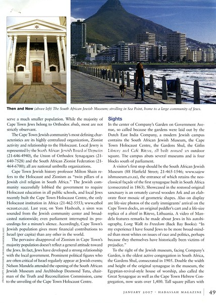 Cape Town. Hadassah Magazine. New York, NY, USA. Jan 2007