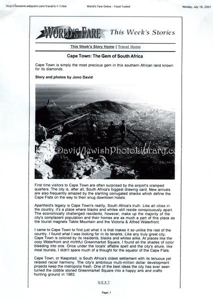 Cape Town. Tribune Media Services. Chicago, IL, USA. July 14, 2001