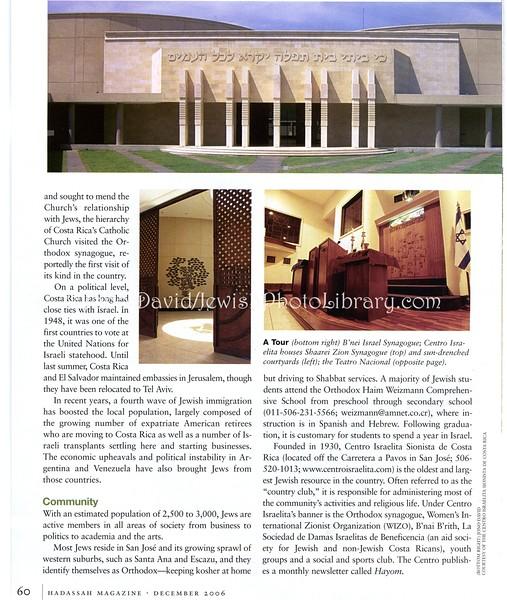 Costa Rica. Hadassah Magazine. New York, NY, USA. Dec 2006