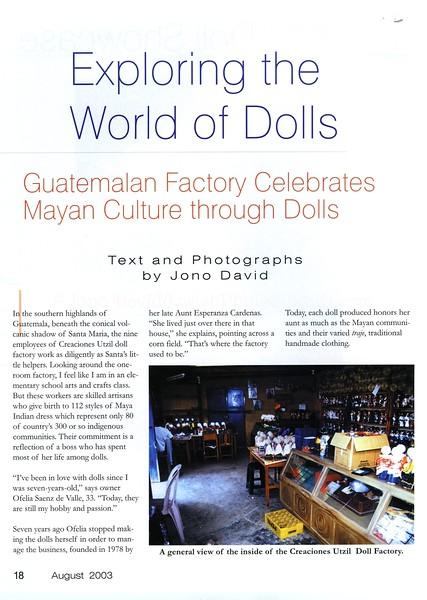 Doll factory. Dollmaking Magazine. Iola, Wisconsin, USA. Aug 2003
