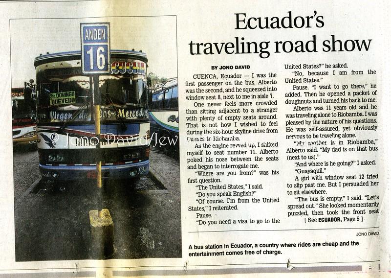 Ecuador bus  Star Ledger  Newark, NJ, USA  Nov 20, 2005