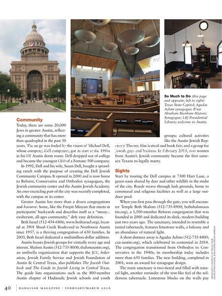 Austin. Hadassah Magazine. New York, NY, USA. Feb/Mar 2016 (1 photo; top-middle)