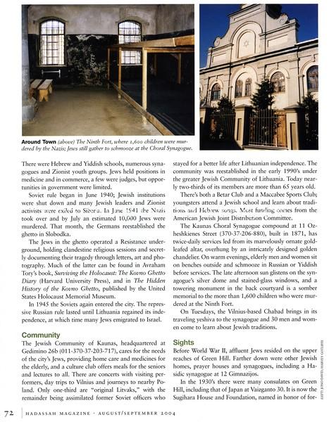 Kaunas and Klaipeda (photo)  Hadassah Magazine  New York, NY, USA  Aug:Sep 2004