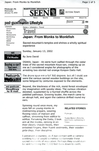 Koya-san  Pittsburgh Post-Gazette  Pittsburg, PA, USA  Jan 13, 2002  1of5