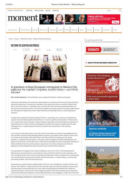 Moment Magazine (photo)  Washington, DC, USA  Mar:Apr 2009