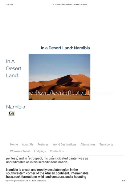 Namibia  Gonomad  East Arlington, VT, USA  April 1, 2001  1of6