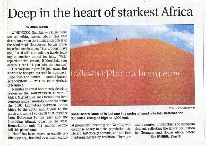 Namibia  Star Ledger (paper)  Newark, New Jersery  Aug 12  2001