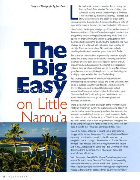 Namua, Samoa  Polynesia In-Flight Magazine  Apia, Samoa  March-May 2001  1of2