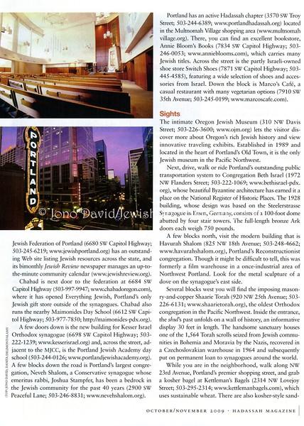 Portland, Oregon (photos)  Hadassah Magazine  New York, NY, USA  Oct:Nov 2009  3of3