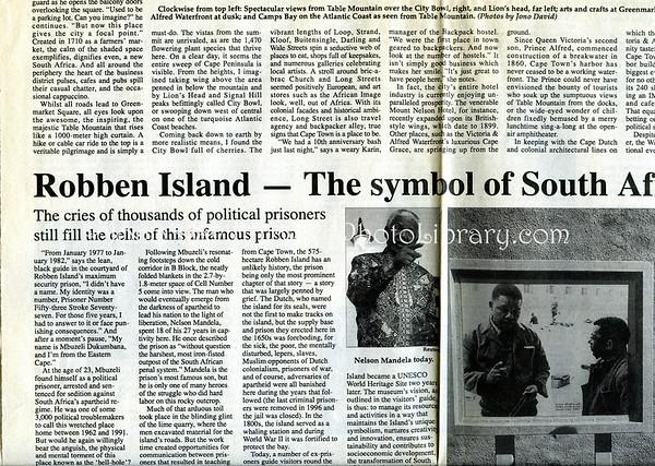 Cape Town, Robben Island. Mainichi Daily News. Tokyo, Japan. Oct 20, 2000