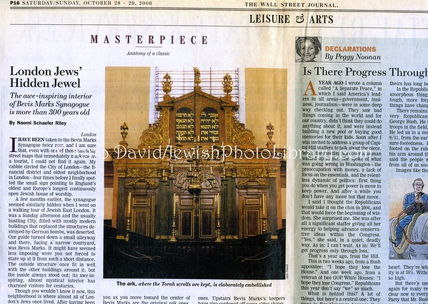 Bevis Marks Synagogue. Wall Street Journal. New York, NY, USA. Sat/Sun, Oct 28-29, 2006