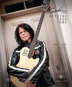 Rudy Sarzo for Godin Guitars in Guitar Player Magazine