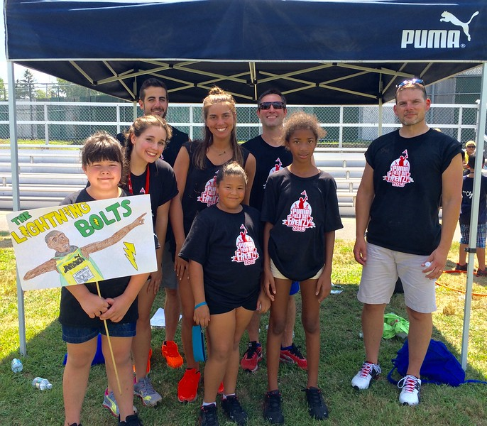 The Lighting Bolts team, from left, front, Lindsey Georgoulis, Jocellyn Roy, Jinnyah King, all of Lowell, with PUMA's Emalee Dunbar of Tewksbury, Michael Cicerone of Westminster, Malina Stravropoulos of Newton, Phil Gatchell of Andover and Vinnie Polinsky of Stoneham