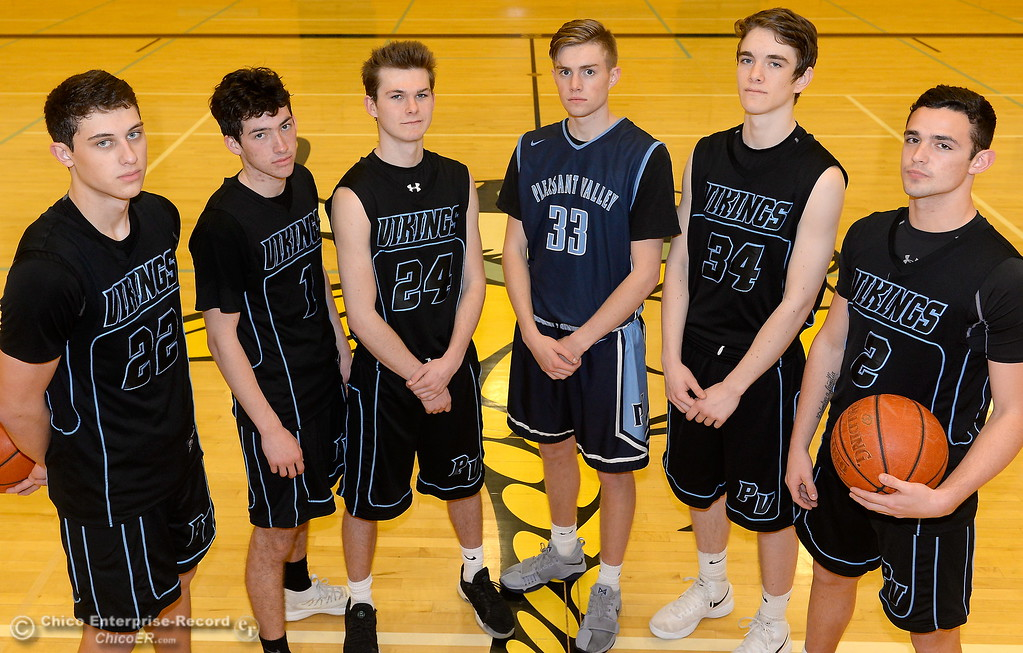 . Pleasant Valley High School boys basketball starters left to right Kevin Kremer, Peyton Schneringer, Cody Hamilton, Jake Rick, Treyson Keating, Jarin Polander Wednesday March 21, 2018.  (Bill Husa -- Enterprise-Record)