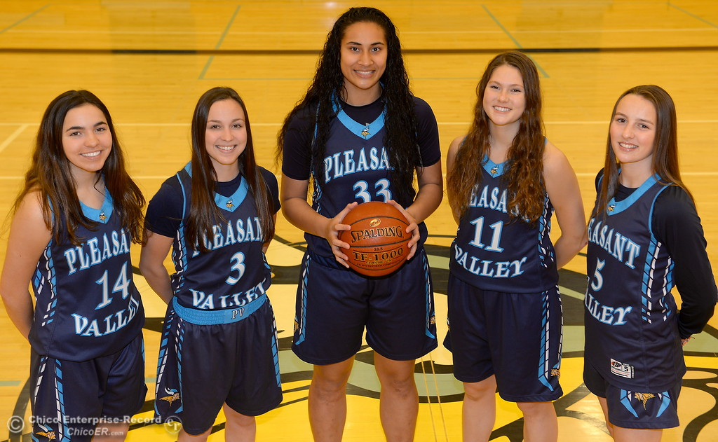 . Pleasant Valley High School girls basketball starters Makenna Joyce, Claire Garcia, Sirena Tuitele, Olivia Layne, Chloe Mayer left to right, Wednesday March 21, 2018.  (Bill Husa -- Enterprise-Record)