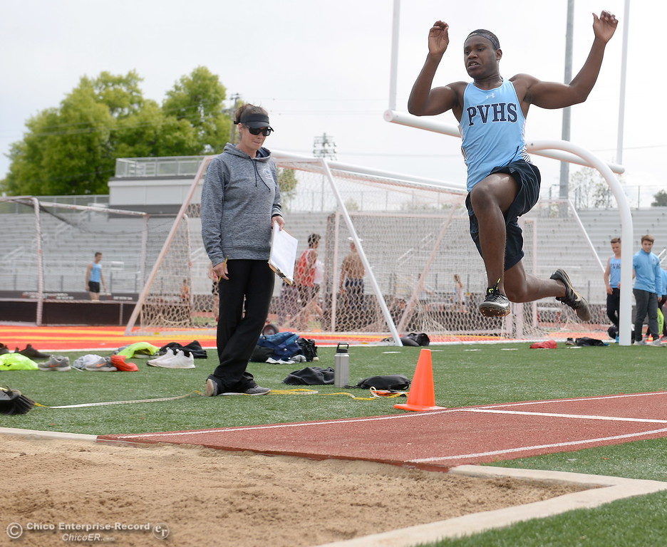 . during a Chico vs Pleasant Valley High School  dual track meet on the Chico High track Wednesday April 18, 2018.  (Bill Husa -- Enterprise-Record)