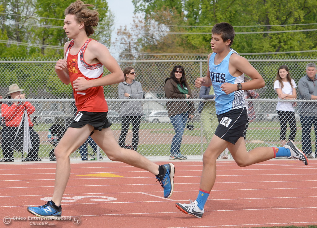 . Chico High runners take the lead in the boys varsity 1600 Meter Run during a Chico vs Pleasant Valley High School  dual track meet on the Chico High track Wednesday April 18, 2018.  (Bill Husa -- Enterprise-Record)
