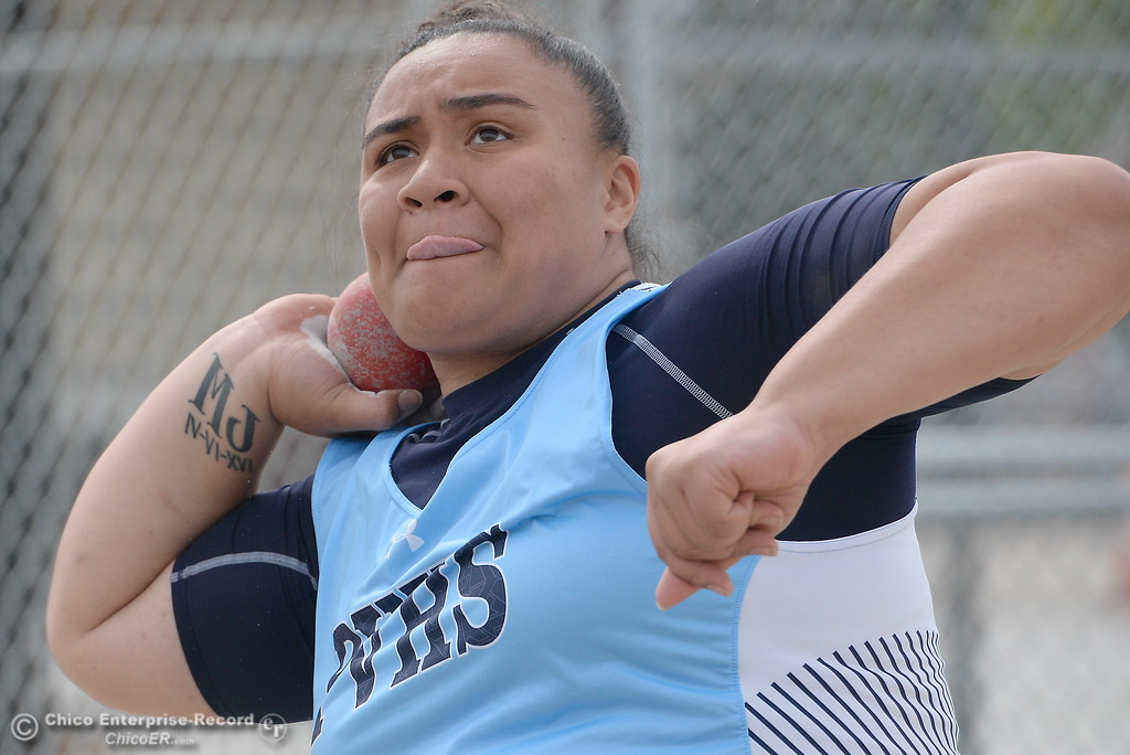 ". Pleasant Valley shotputter Subrina Tuitelle looks to beat her personal record of 33\' 9"" during a Chico vs Pleasant Valley High School  dual track meet on the Chico High track Wednesday April 18, 2018.  (Bill Husa -- Enterprise-Record)"