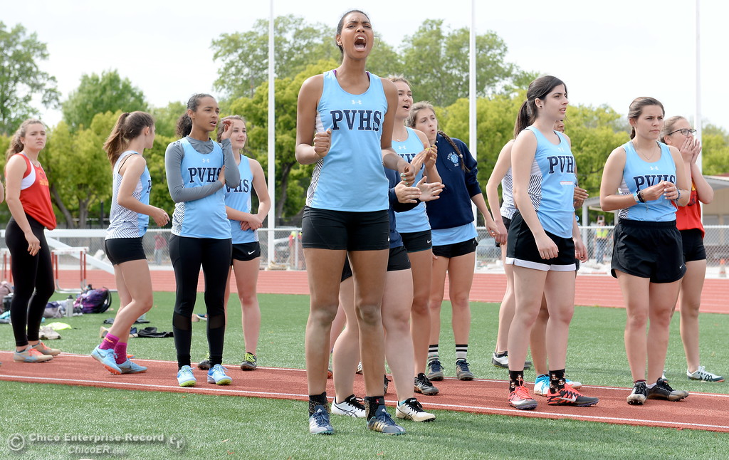 . Athletes cheer each other on during a Chico vs Pleasant Valley High School  dual track meet on the Chico High track Wednesday April 18, 2018.  (Bill Husa -- Enterprise-Record)