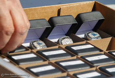 The Pleasant Valley high school football team got their state championship rings at an unveiling ceremony Thursday April 27, 2017 in Chico, California. (Emily Bertolino -- Enterprise-Record)