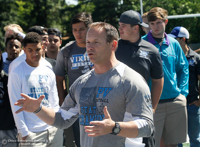 Pleasant Valley head football coach Mark Cooley talks before the team gets their state championship rings at an unveiling ceremony Thursday April 27, 2017 in Chico, California. (Emily Bertolino -- Enterprise-Record)