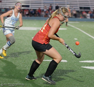 Chico (14) Bailey Reid controls the ball during PV vs Chico Field Hockey at Asgard Yard in Chico, Calif. Wed. Sept. 19, 2018.   (Bill Husa -- Enterprise-Record)