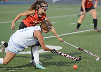 PV's Zoe Nunez-Bauer (1)  battles Chico's Tessa Coffee (1) during PV vs Chico Field Hockey at Asgard Yard in Chico, Calif. Wed. Sept. 19, 2018.   (Bill Husa -- Enterprise-Record)