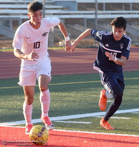 during Pleasant Valley vs Chico High Boys soccer action at Chico High Wed. Feb. 7, 2018. (Bill Husa -- Enterprise-Record)