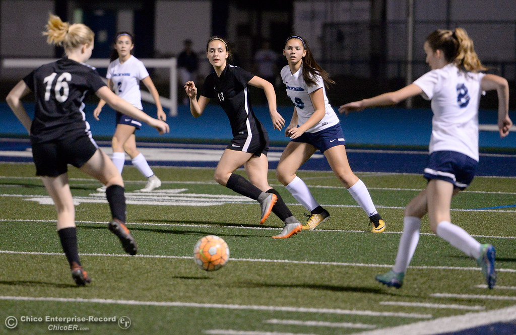 . Chico and PV battle for a shot near the PV goal during first half action of Chico High vs Pleasant Valley Girls soccer action at Pleasant Valley High School Wed. Feb. 7, 2018. (Bill Husa -- Enterprise-Record)