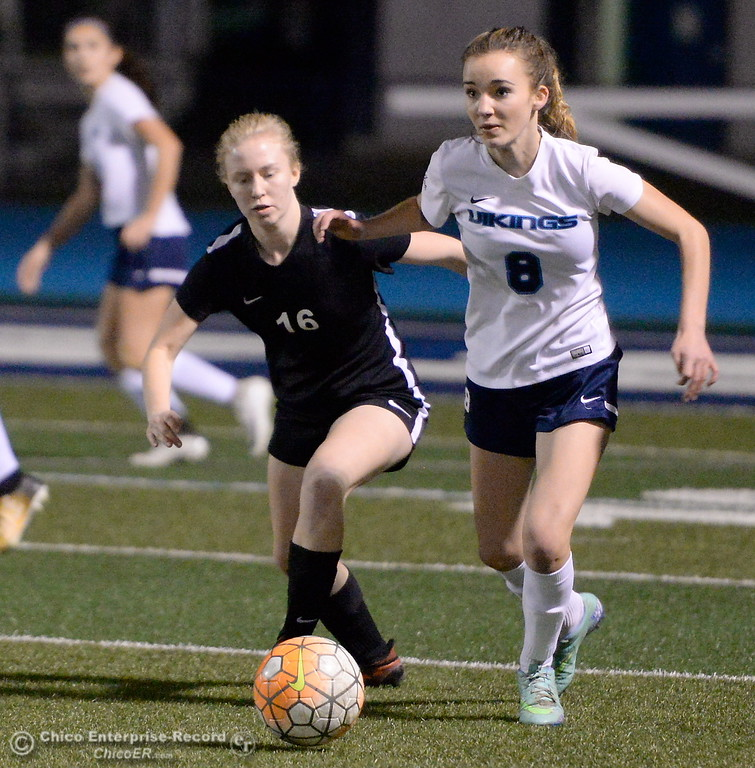 . Chico\'s Auriel Kepler battles PV\'s Melia Yuill for the ball during first half action of Chico High vs Pleasant Valley Girls soccer action at Pleasant Valley High School Wed. Feb. 7, 2018. (Bill Husa -- Enterprise-Record)
