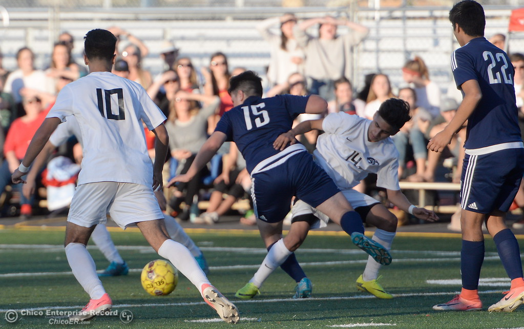 . during Pleasant Valley vs Chico High Boys soccer action at Chico High Wed. Feb. 7, 2018. (Bill Husa -- Enterprise-Record)
