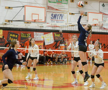 PV's Jordan Bennett keeps them guessing as she goes up at the net during PV vs Chico volleyball at Chico High Tuesday Oct. 2, 2018.   (Bill Husa -- Enterprise-Record)
