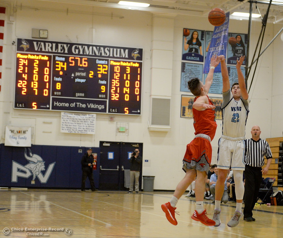 . during first half action of Foothill vs Pleasant Valley High Boys basketball at PV Tues. Feb. 13, 2018. (Bill Husa -- Enterprise-Record)
