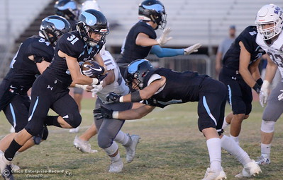 PV's Dalton Walker breaks a tackle and takes the opening kickoff all the way for a touchdown on this play during PV vs Shasta High Football at University Stadim in Chico, Calif. Friday Sept. 28, 2018.  (Bill Husa -- Enterprise-Record)