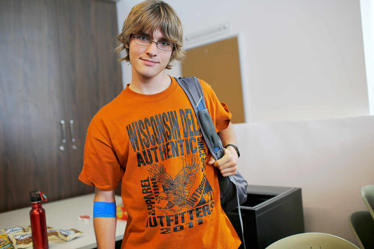 Garret M. Carson very proud of himself, because he just donated blood. He is a student at PVCC studying Particle Physicist and possibly a theoretical mathematician.