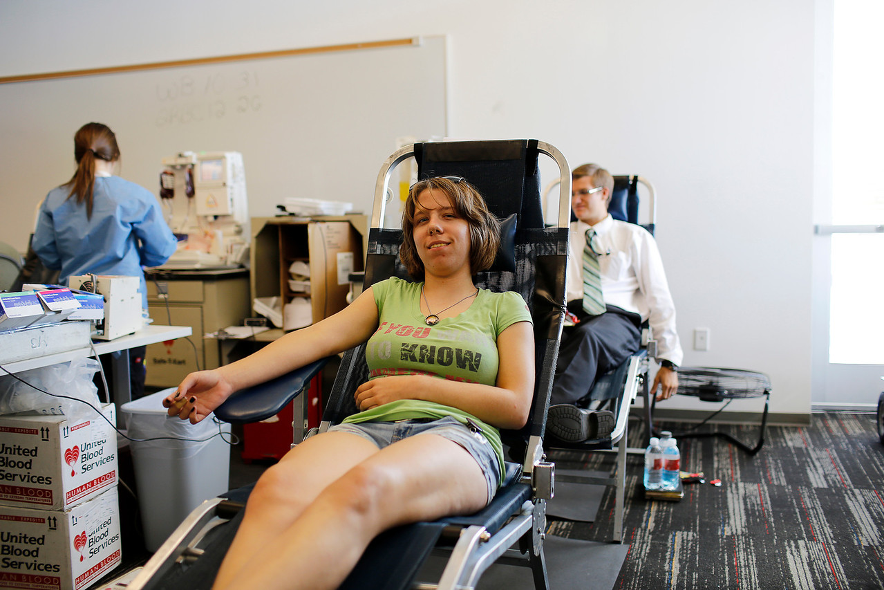 Meagan Rieck student of PVCC - General Art- is more than ready to help donating her blood.
