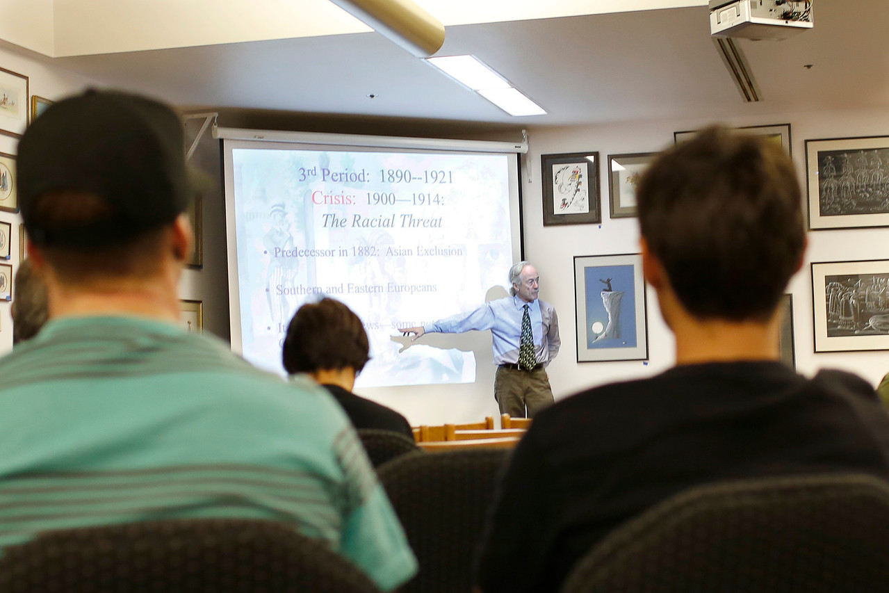 "On Wednesday, October 10th. The PVCC Library and Center for International Studies invited Dr. Brian Gratton, Professor of History atArizona State University, to give a civil discourse <br /> ""405 Years of Immigration to America: <br /> Ethnicity, Public Opinion and Policy"""