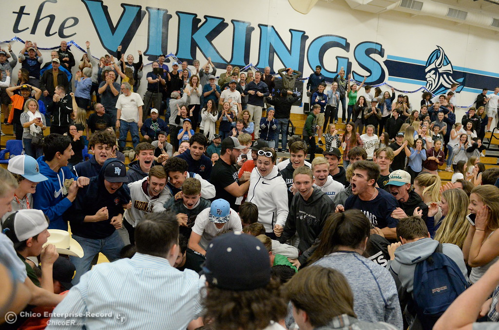 . The Viking crowd erupts after Chloe Mayer drained a long three pointer to beat Sacramento 47-46 during playoff basketball at Pleasant Valley High School in Chico, Calif. Wed. March 7, 2018. (Bill Husa -- Enterprise-Record)