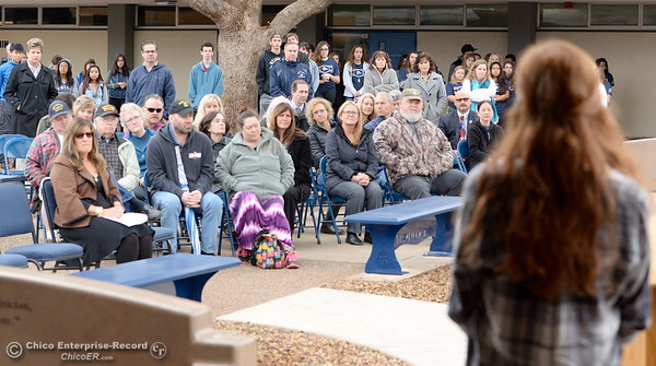 Students and veterans gather for the Veterans Glen dedication ceremony at Pleasant Valley High School in Chico, Calif. Wed. Nov. 30, 2016. (Bill Husa -- Enterprise-Record)